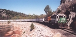 BNSF 2984 leading piggyback train along Washita River